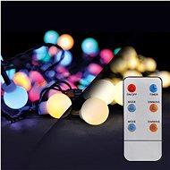 LED 2in1 kültéri karácsonyi lánc, labda, távirányító, 200LED, RGB + fehér, 20m + 5m, 8 funkció, IP44 - Fényfüzér