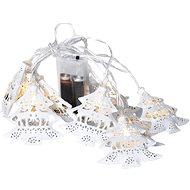 LED lánc karácsonyfák, fém, fehér, 10LED, 1m, 2x AA, IP20 - Karácsonyi fény