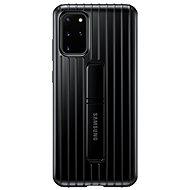 Mobiltelefon hátlap Samsung edzett védő hátlap tok állvánnyal Galaxy S20+ készülékhez, fekete - Kryt na mobil