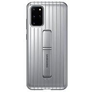 Mobiltelefon hátlap Samsung edzett védő hátlap tok állvánnyal Galaxy S20+ készülékhez, ezüst - Kryt na mobil