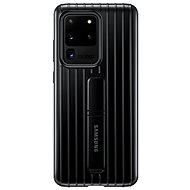 Mobiltelefon hátlap Samsung edzett üveg hátlap állvánnyal - Galaxy S20 Ultra fekete színű készülékekhez - Kryt na mobil