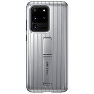 Mobiltelefon hátlap Samsung edzett üveg hátlap állvánnyal - Galaxy S20 Ultra ezüst színű készülékekhez - Kryt na mobil