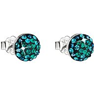 Mágikus zöld fülbevaló Swarovski kristályokkal díszített 31136,3 (925/1000, 1,5 g) - Fülbevaló