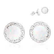 JSB Bijoux ezüst fülbevaló fehér opál Swarovski® kristállyal díszítve (925/1000; 1,44 g, kerek) - Fülbevaló