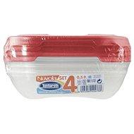 Tontarelli Élelmiszertartó doboz 4x0,5 L Nuvola piros