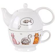 Toro 470ml teáskanna és csésze, macskás motívummal - Egyszemélyes teáskészlet