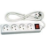 Solight hosszabbító kábel, 4 csatlakozóaljzat, fehér, kikapcsoló, 5m - Hosszabbító kábel