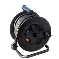 Solight hosszabbító dob, kültéri, 4 aljzattal, fekete, 50 m - Hosszabbító kábel