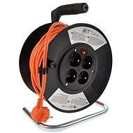 Solight hosszabbító kábel dobbal, 4 aljzat, narancs színű, 25 m - Hosszabbító kábel