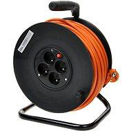 PremiumCord hosszabbító 230V 50 m dob, 4x foglalat, narancssárga - Tápkábel