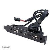 Akasa USB 3.1 Gen1 C típusú PCI kettős USB 2.0 A típusú / AK-CBUB53-40BK - Takarólemez