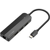 Vention Type-C (USB-C) to 3x USB 2.0 / RJ45 / Micro-B HUB 0.15M Black ABS Type - USB Hub