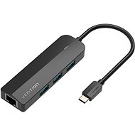 Vention Type-C (USB-C) to 3x USB 3.0 / RJ45 / Micro-B HUB 0.15M Black ABS Type