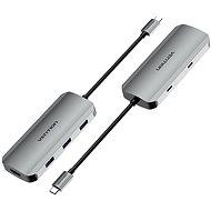 Vention USB-C to HDMI / USB-C 3.2 Gen 1 / USB 3.0 x 3 / PD Docking Station 0.15M Gray Aluminum - Port replikátor