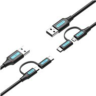Vention USB 2.0 to 2-in-1 Micro USB & USB-C Cable 0.5M Black PVC Type