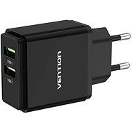Vention Dual Quick 3.0 USB-A Wall Charger (18W + 18W) Black - Hálózati adapter