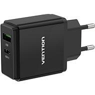Vention USB-A Quick 3.0 18W + USB-C PD 20W Wall Charger Black - Hálózati adapter