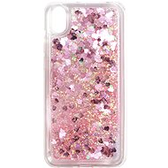 iWill Glitter Liquid Heart Case a HUAWEI Y5 (2019) / Honor 8S telefonhoz, Pink - Telefon hátlap