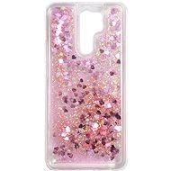 iWill Glitter Liquid Heart Case a Xiaomi Redmi 9 telefonhoz Pink