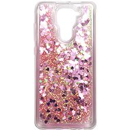 Mobiltelefon hátlap iWill Glitter Liquid Heart Case Xiaomi Redmi Note 9 készülékhez - Pink - Kryt na mobil