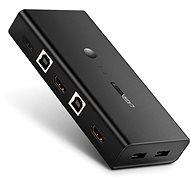 Ugreen 2 In 1 Out HDMI + USB-B + USB-A KVM Switch Black - Kapcsoló