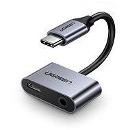 Ugreen C típusú (USB-C) 3,5 mm-es jack (F) + C típusú (F) adapterhez ezüst - Átalakító