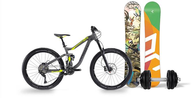 Mountain bike, snowboard, súlyzók