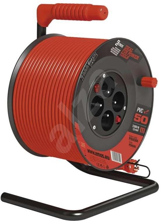 EMOS PVC Hosszabbító kábel dobon kapcsolóval - 4 aljzat  50 m  1 5 mm2 - Hosszabbító kábel