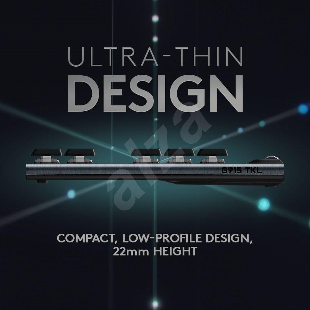 Logitech G915 LIGHTSPEED Tenkeyless Wireless RGB GL Clicky US INTL  carbonNTL  szén - Gamer billentyűzet
