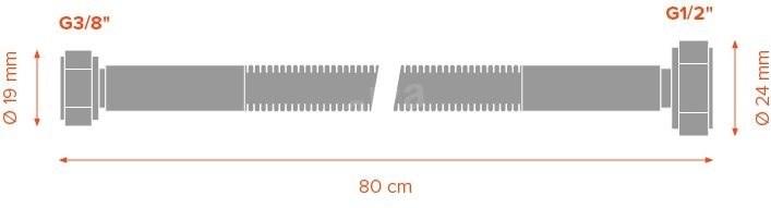 """Merabell Aqua G3/8""""-G1/2""""  80cm - Csatlakozócső"""