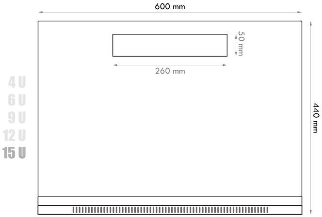 19 hüvelykes egyrészes 15U RACK - Kapcsolószekrény