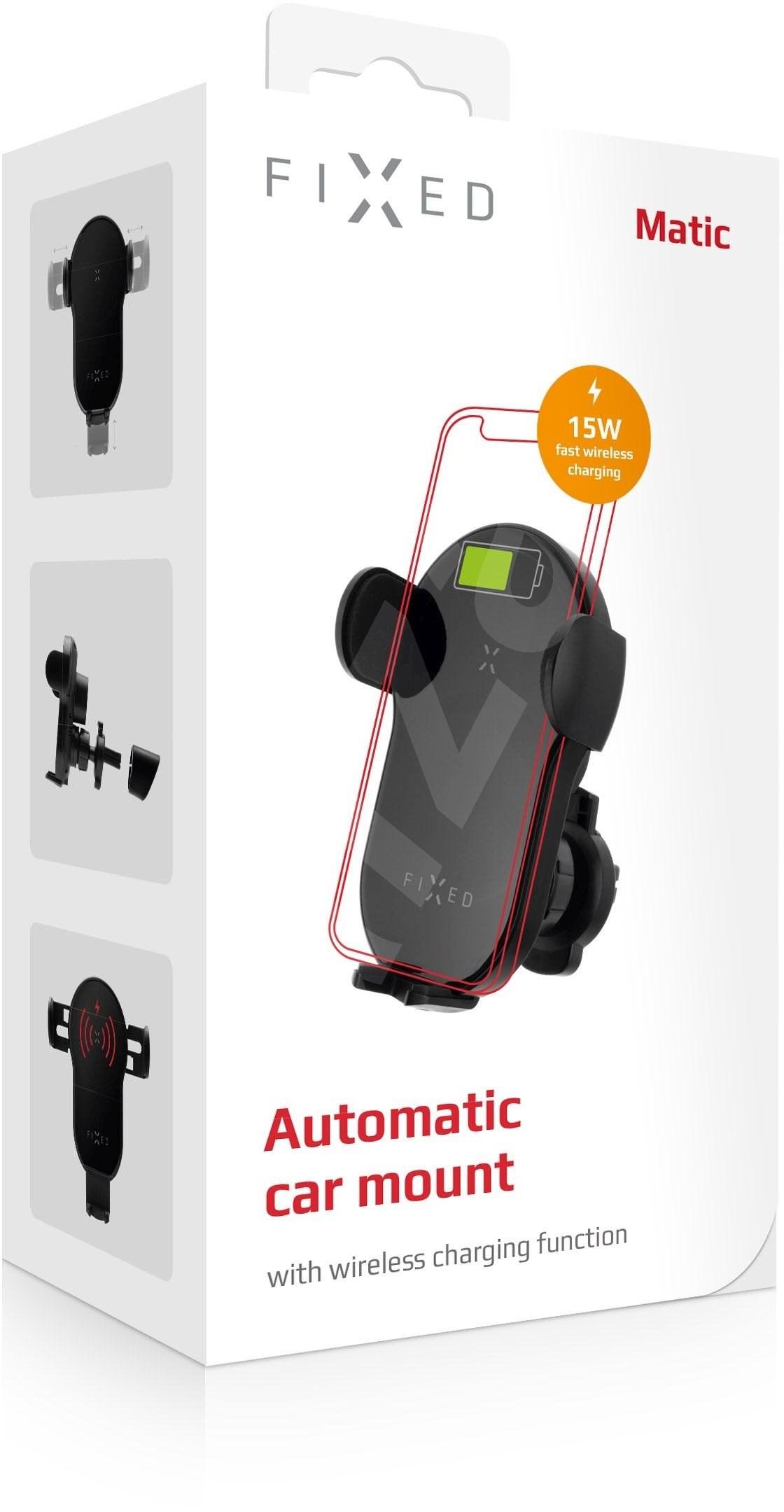 FIXED Matic vezeték nélküli töltő fekete - Telefontartó