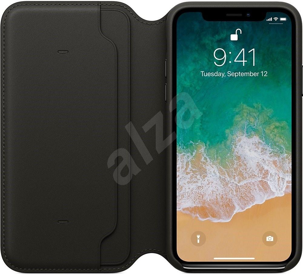 iPhone X Bőrtok Folio fekete - Mobiltelefon tok