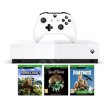 Xbox One S 1TB All-Digital + 3 játék (Fortnite, Minecraft, Sea of Thieves)