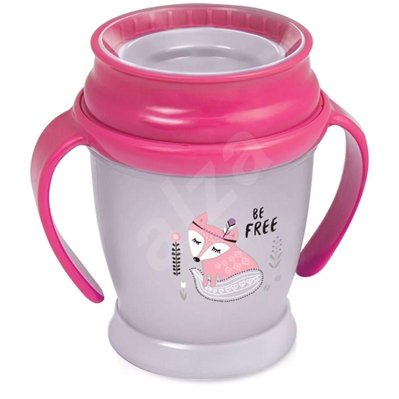 LOVI ivópohár 360° JUNIOR 250 ml fogantyúval INDIAN - rózsaszín - Tanulópohár