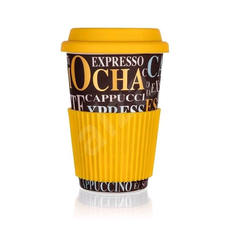 BANQUET Kerámia bögre szilikon fedéllel GO, 400 ml, Kávédekor, 4db - Bögre