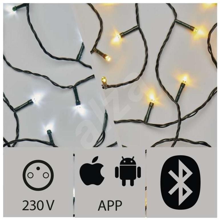 Alkalmazással vezérelt karácsonyi LED fényfüzér, 15 m, kültéri, hideg/meleg fehér - Fényfüzér