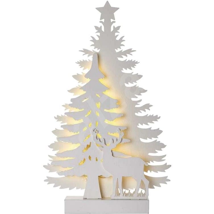 LED karácsonyfa, 23cm, 2x AA, beltéri, meleg fehér, időzítő - Karácsonyi fény