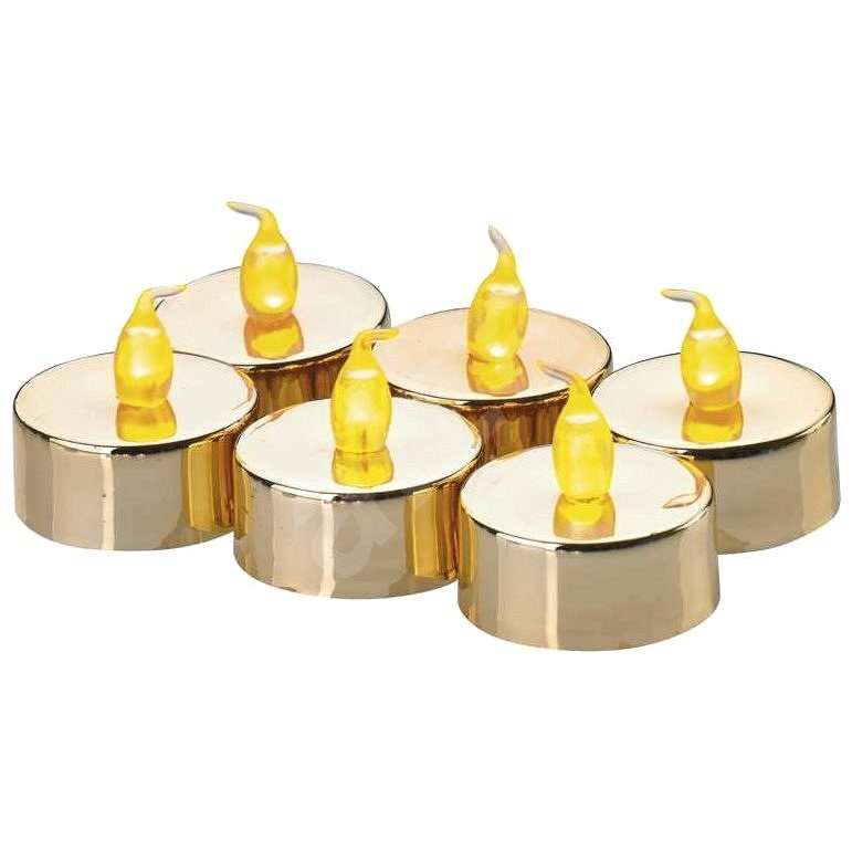 LED dekoráció - 6x teamécses, arany, 6x CR2032 - Karácsonyi fény