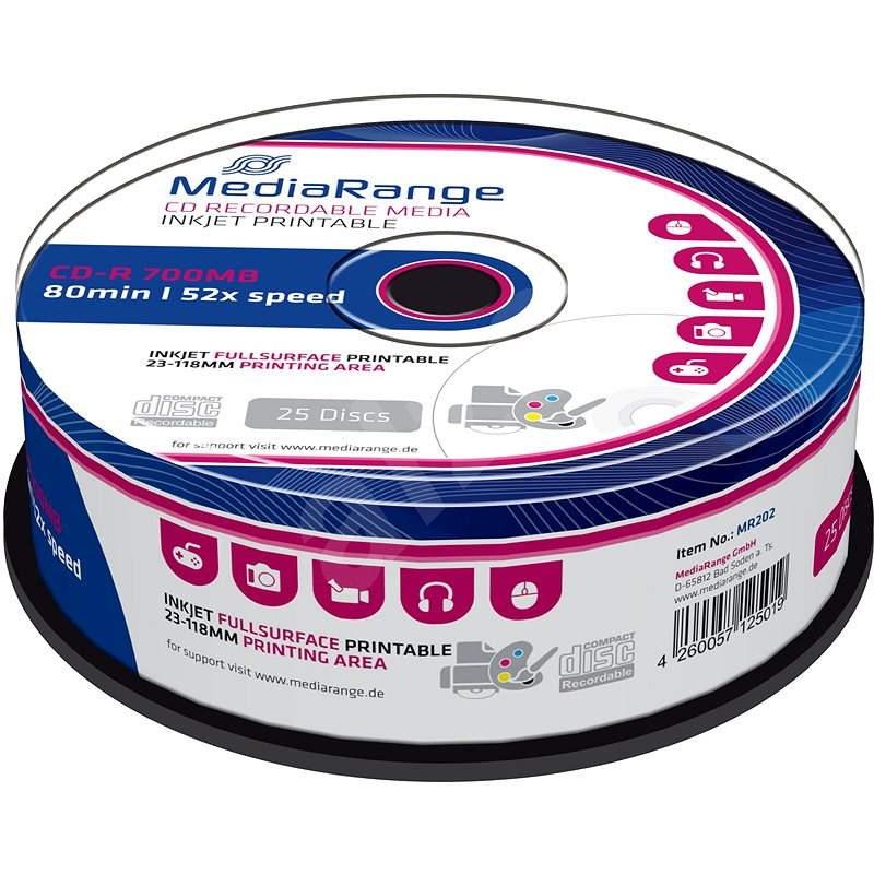 MediaRange CD-R Inkjet Printable Fullsurface 25db cakebox - Média