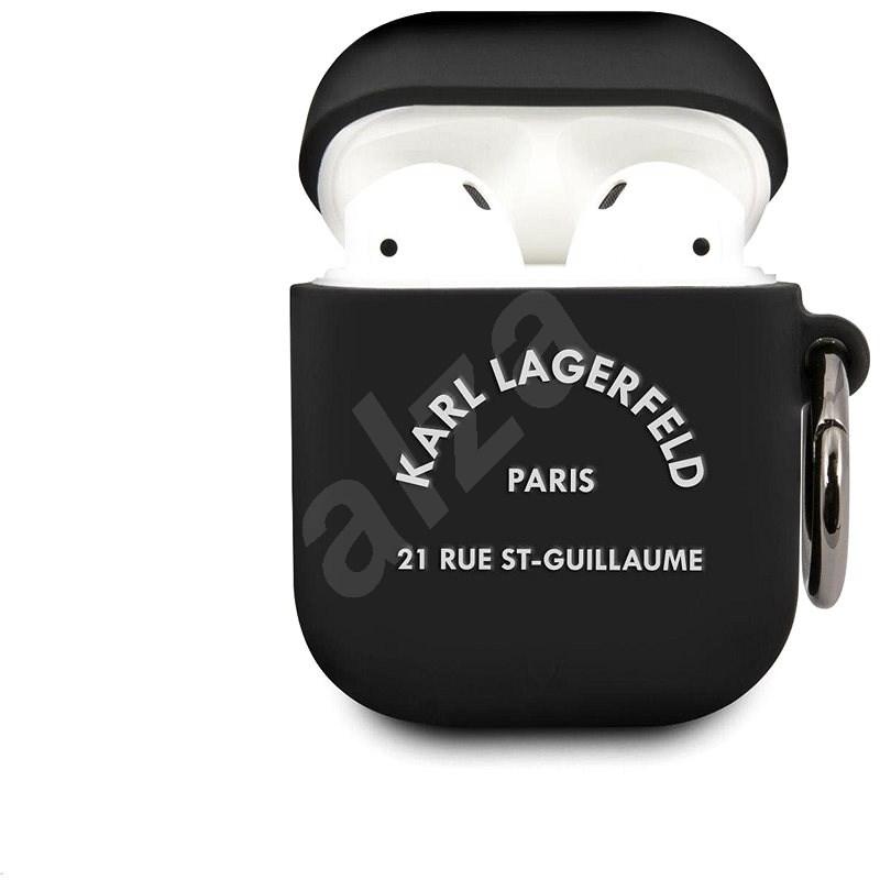 Karl Lagerfeld Rue St Guillaume szilikon tok Airpods 1/2 készülékhez fekete - Fülhallgató tok