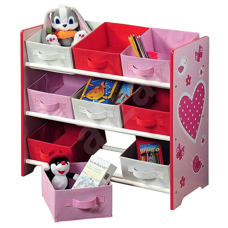 Gyerek tároló polc 9 szövet dobozzal, rózsaszín - Polc