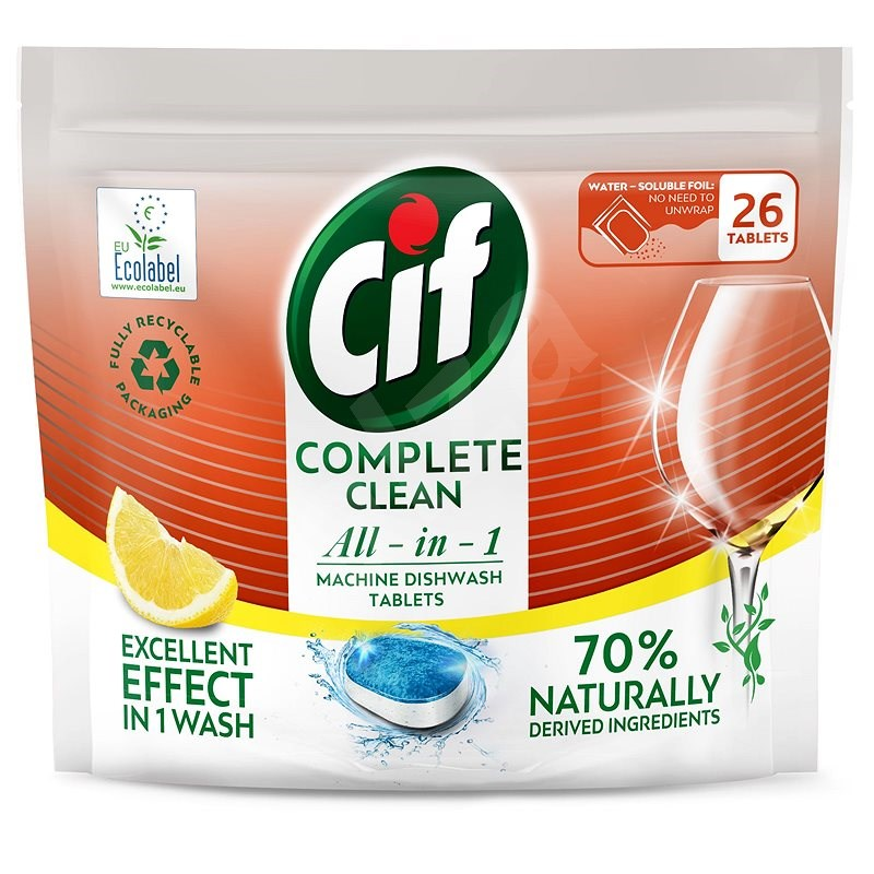 CIF All in 1 Lemon 70% Naturally 26 db - Öko mosogatógép tabletta