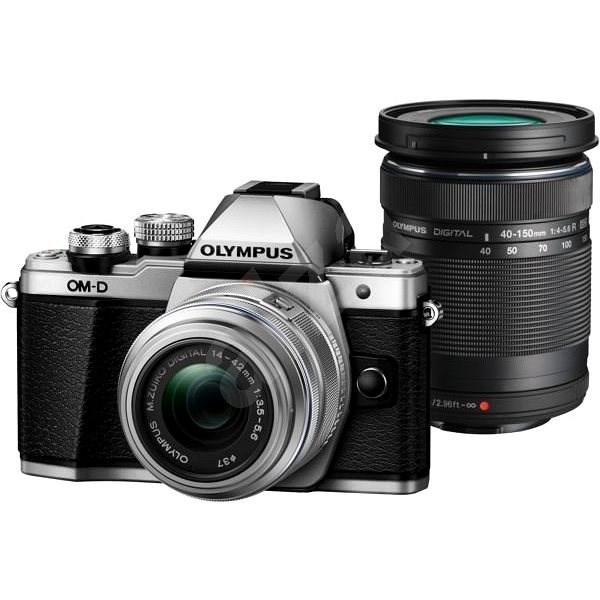 Olympus E-M10 Mark II, ezüst/fekete + 14-42mm + 40-150mm II R DZ - Digitális fényképezőgép