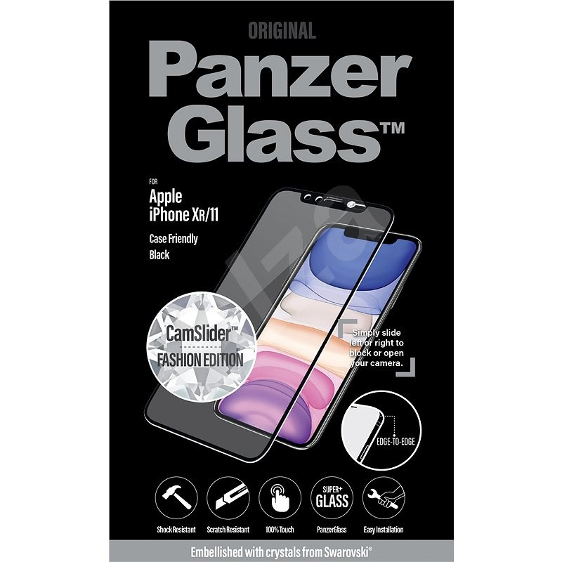 PanzerGlass Edge-to-Edge iPhone Xr/11-hez, fekete, Swarovski CamSlider - Képernyővédő