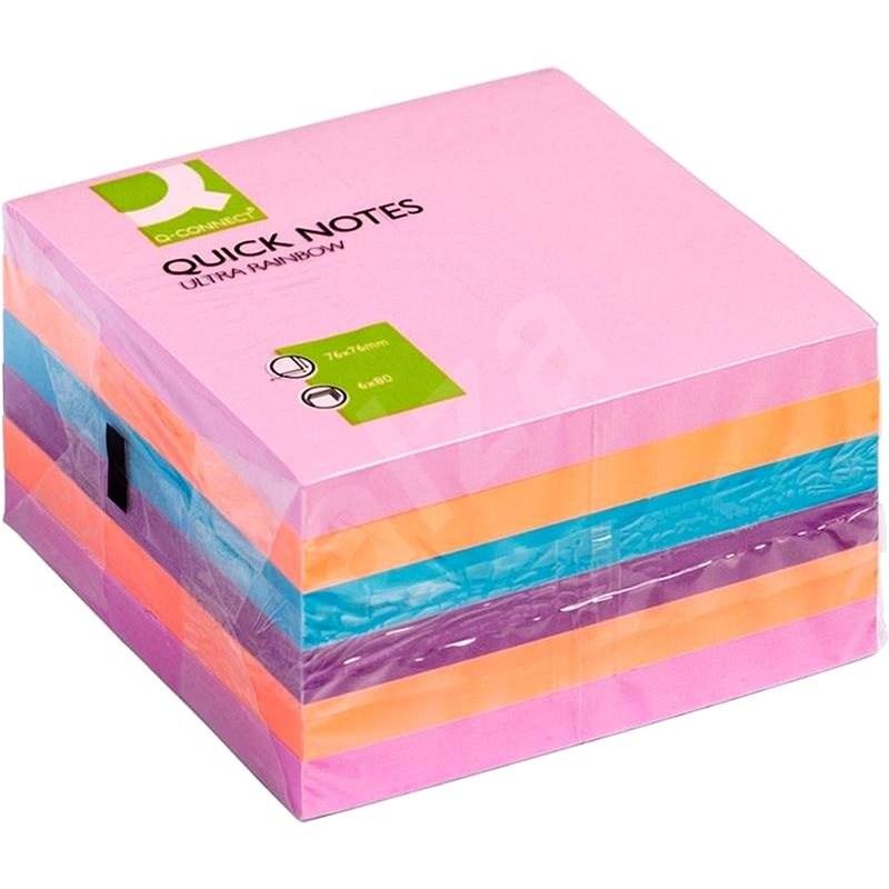 Q-CONNECT 76 x 76 mm, 6 x 75 kártya, vegyes színek - Öntapadós cetlik