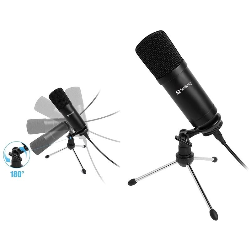 SANDBERG Streamer USB Desk Mikrofon, fekete - Mikrofon