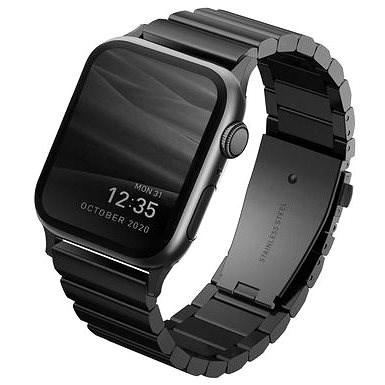 Uniq Strova Apple Watch Acél szíj 44/42mm - éjfekete - Szíj