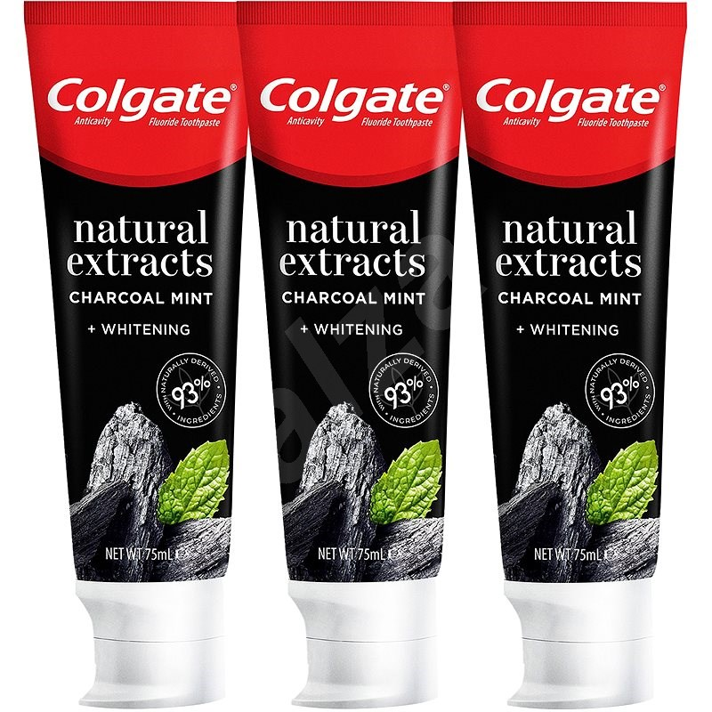 COLGATE Naturals Charcoal & White 3 x 75 ml - Fogkrém
