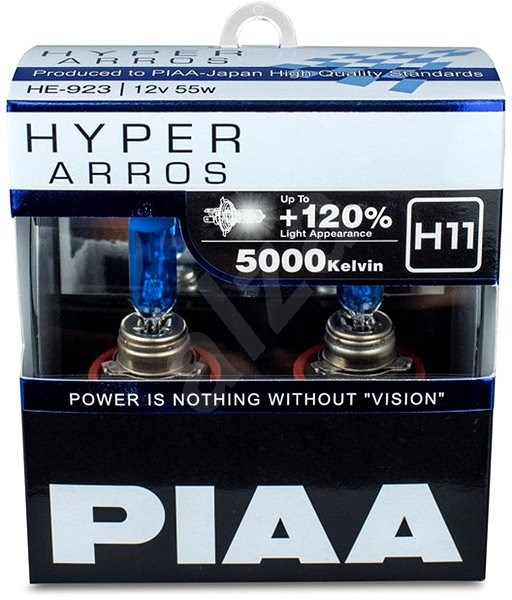PIAA Hyper Arros 5000K H11 + 120% ragyogó fehér fény, 5000K színhőmérséklet, 2 db - Autóizzó
